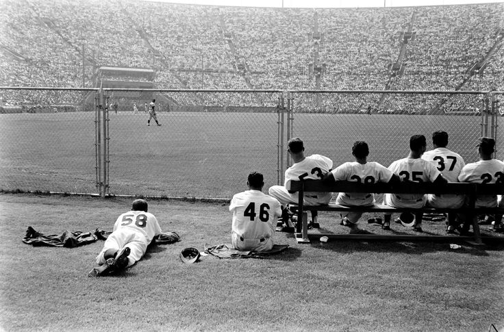 A quiet moment during the Dodgers' opening day in 1958.