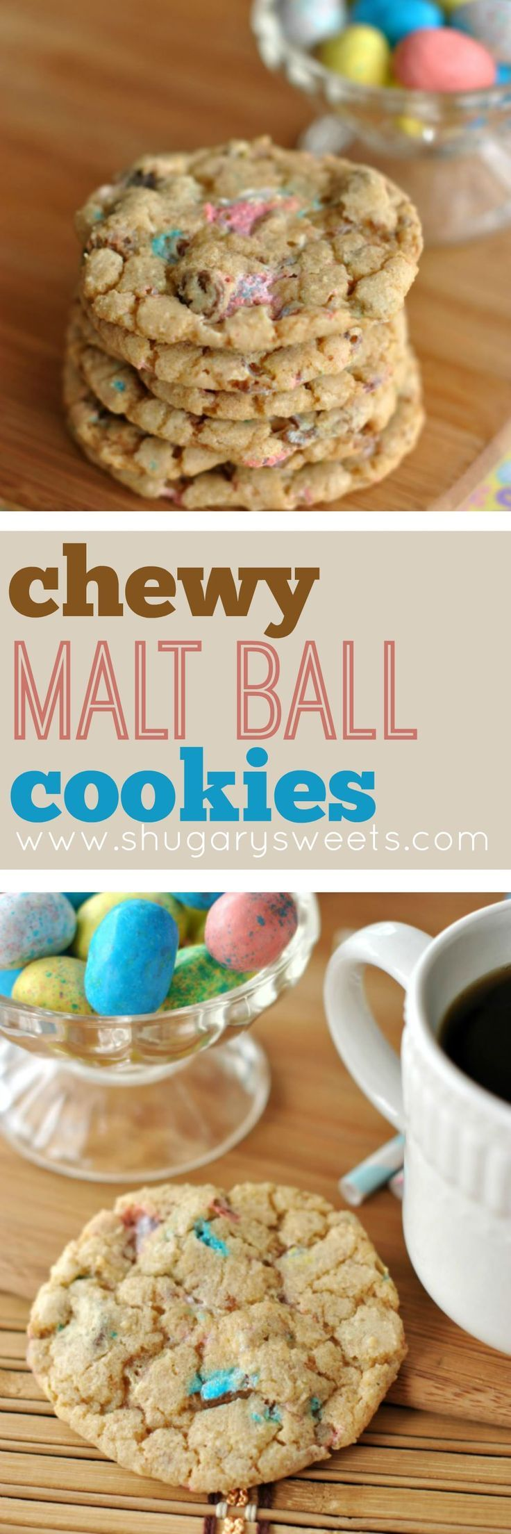 Delicious cookies made with Malted Milk Balls to create a chewy texture and malt ball flavor! Perfect with Whoppers or Spring Robin Eggs candies.