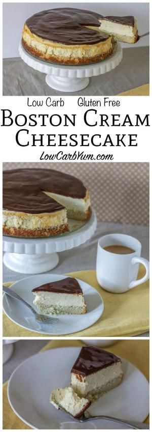 A fabulous low carb Boston cream cheesecake that bakes up in no time. It's got a layer of gluten free cake topped with cheesecake then a layer of chocolate!