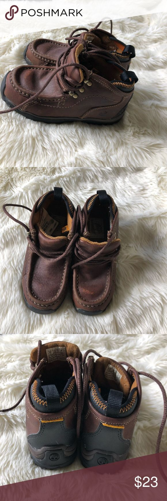 Moc Toe Boot Lace Up Leather Toddler Boys' Timberland Moc Toe Boot Lace Up Leather Toddler Boys' Size 10 Brown 46866M  Great Condition: Minimal scratches from wear. See Pics. Timberland Shoes Boots