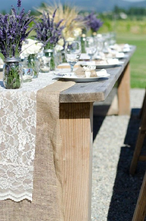Lavender, lace, burlap wedding table decor ideas / http://www.deerpearlflowers.com/rustic-wedding-ideas-with-burlap-touches/