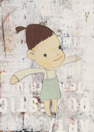 My Little Sister, Yoshitomo Nara (Japanese, born 1959), 2001. Synthetic polymer paint and crayon on printed paper.