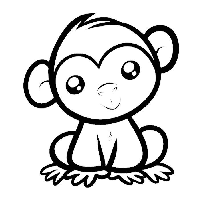 Monkey With Stunning Eyes Coloring Pages For Kids Printable Monkeys