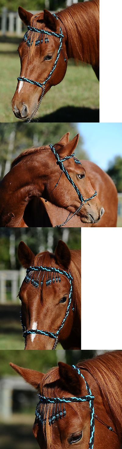 Halters 139601: Hand Braided Miniature Show Halter, Horse Tack, Black Turquoise --New! -> BUY IT NOW ONLY: $38 on eBay!