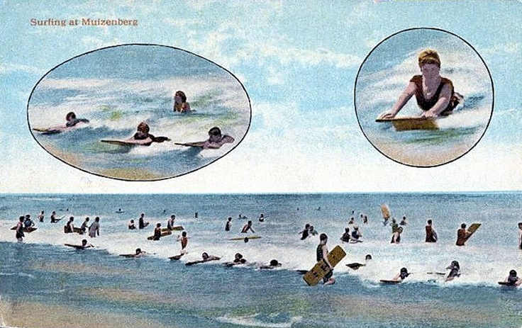 Surfing at Muizenberg, ca. 1929