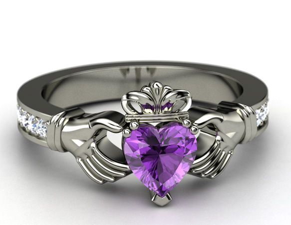 Claddagh ring: The Claddagh ring is a traditional Irish love token. The ring's metal and jewels are fully customizable; pick her birthstone or favorite color for the main gem.