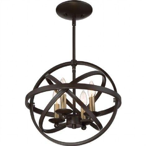 Luminaire suspendu bronze et laiton antique