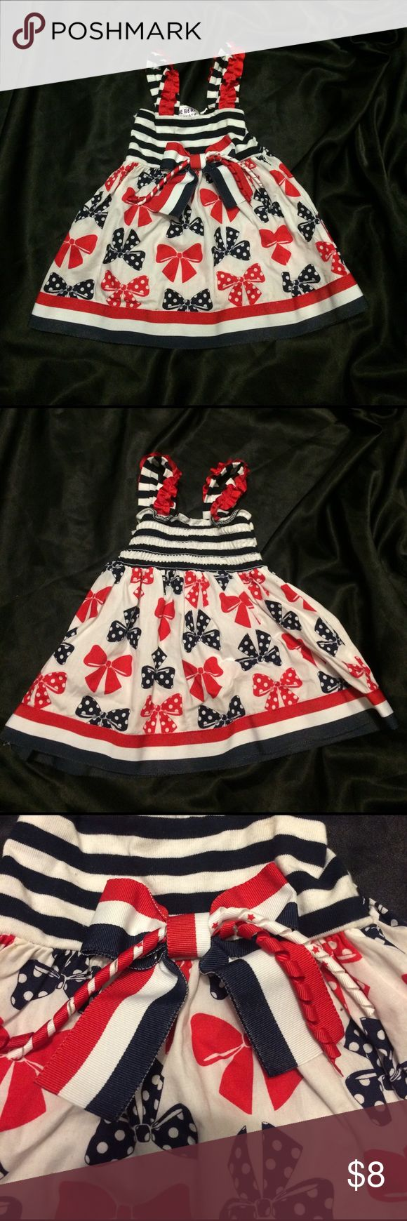 Patriotic dress Red white and blue bow and ribbon detail dress. Super cute for the 4th of July! Worn once. In great condition. Smoke free home Blueberi Boulevard Dresses Casual