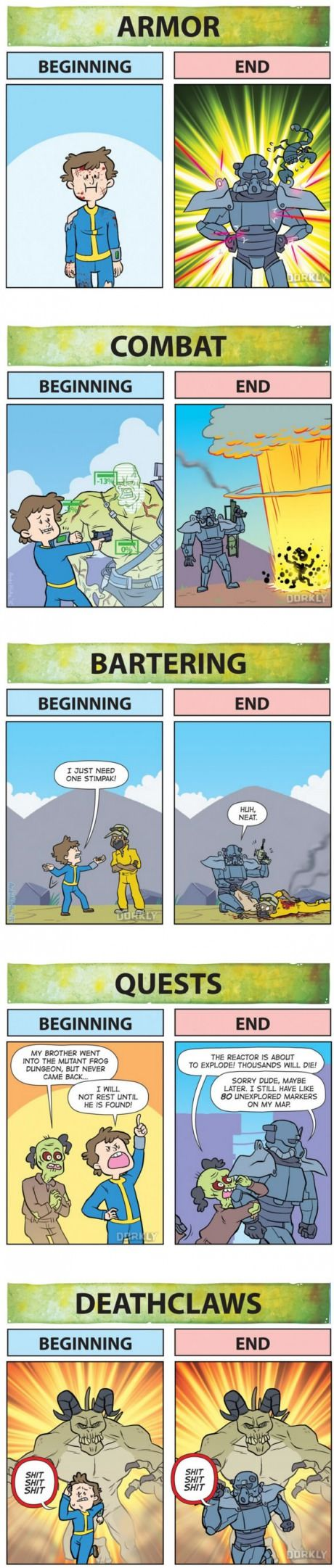 Fallout: Beginning Vs. End (i only have Fallout 3 and New Vegas, i don't have Fallout 4 yet, but I've heard talk that you get pretty decent armor and weapons right at the beginning... Anyone wish to clarify this?)