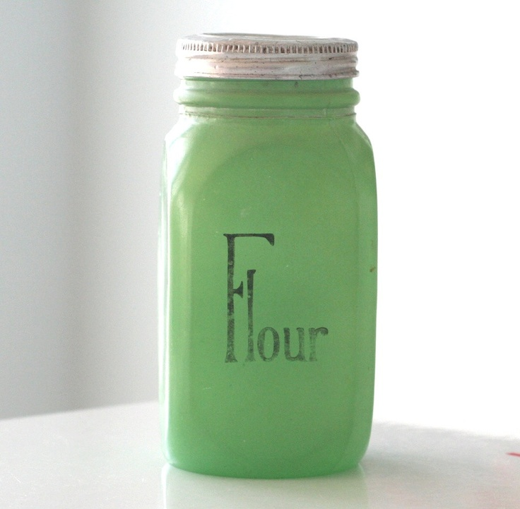 Anchor Hocking Green Fired-On Flour Shaker