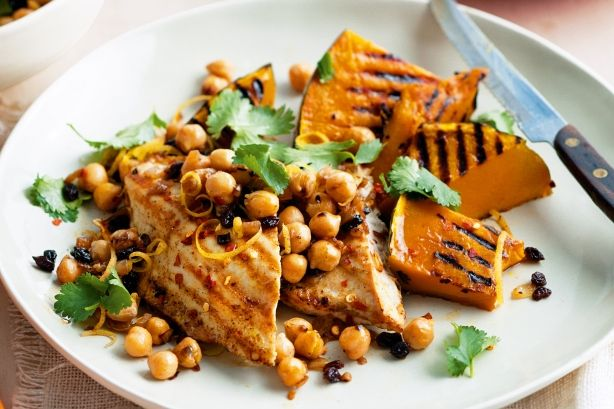 Cumin Chicken And Pumpkin With Warm Chickpea Salsa - Pump up the flavour of spiced barbecued chicken with a garlicky chickpea salad.