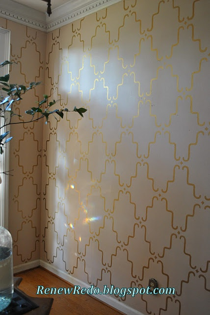 Rub n' Buff metallic wax stenciled entryway tutorial (blog has lots of diy Rub n' Buff tips in a tab at the top of the page)