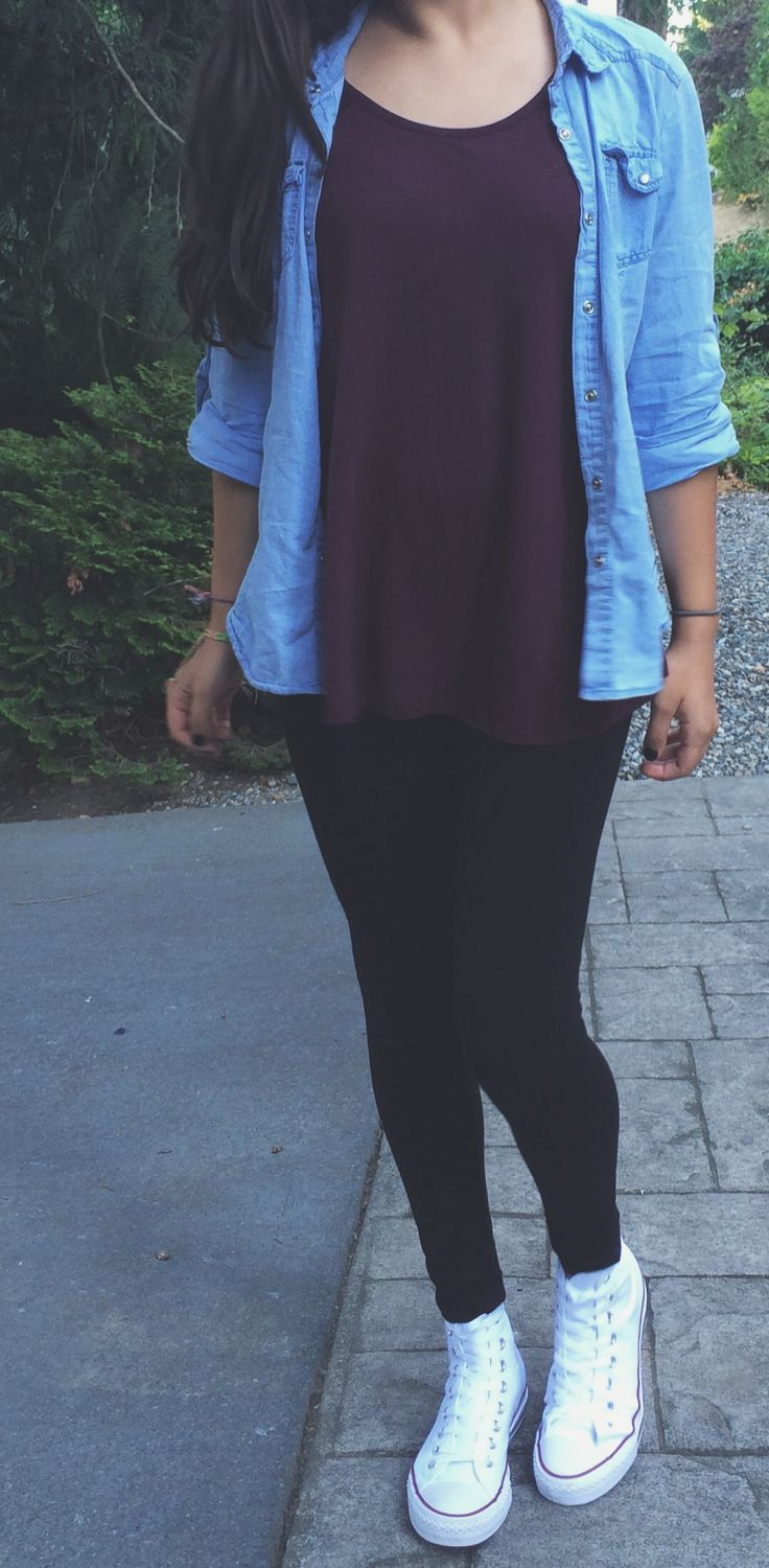 nice denim top // burgundy t // black leggings // high top white converse...
