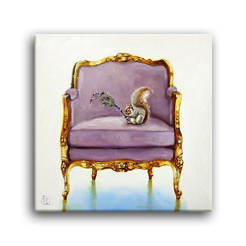 Fall Autumn Squirrel Purple Lavender Flowers Gold Louis Chair Painting  Applegate