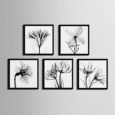 Bloemenmotief/Botanisch Ingelijst canvas Ingelijste set Muurkunst,PVC Materiaal Zwart Zonder passepartout Met frame For Huisdecoratie