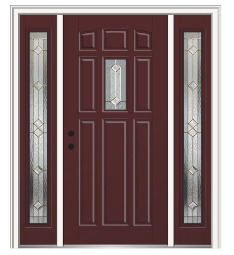 Shown is a Majestic Elegance Center Lite 8-Panel Entry Door with Sidelites Painted Cordovan. Like what you see? Visit DoorBuy.com!