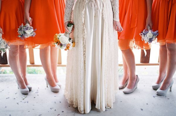 tangerine bridesmaid dresses + vintage gown