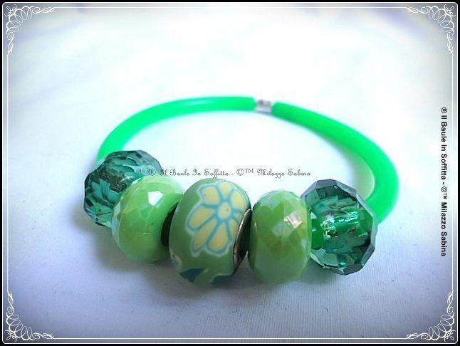 Bracciale in caucciù e perle Trollbeads stile Pandora - Colore Verde Fluo, by Il Baule In Soffitta, 2,80€ su misshobby.com