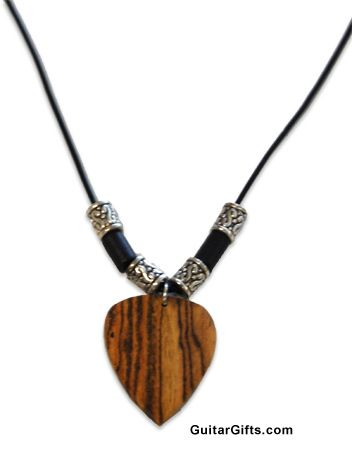 Wooden guitar pick choker necklace