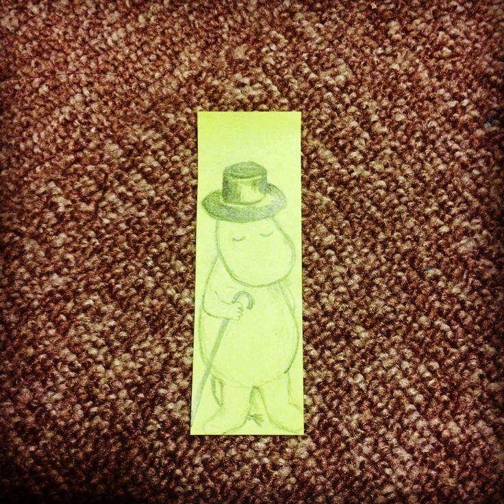 付箋に描いた。ムーミンパパのつもり。