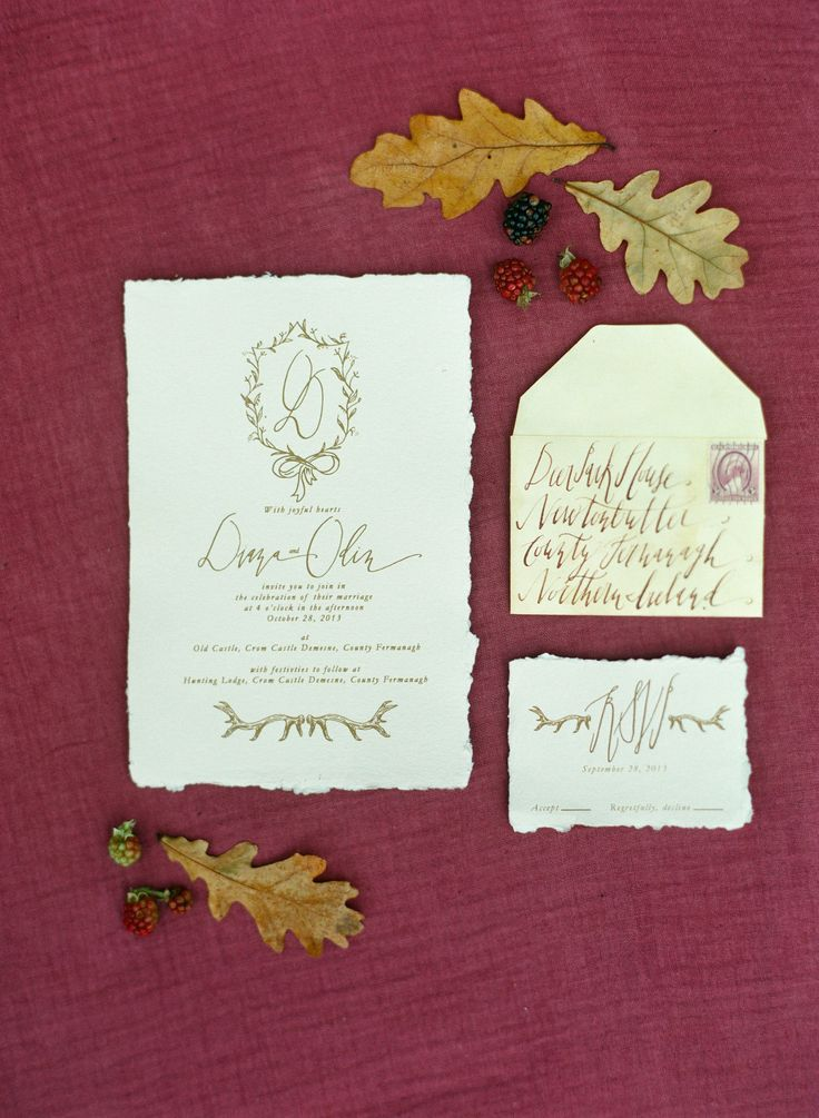 Wedding Invitations, Calligraphy | See the full shoot on SMP: http://www.stylemepretty.com/2013/12/23/crom-castle-ireland-shoot/ Photography: Corbin Gurkin