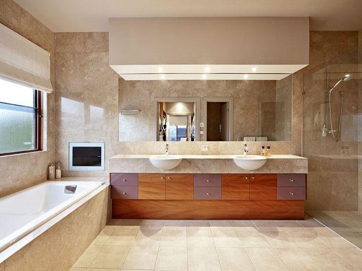bathrooms image: browns, creams - 588225 wood veneer cabinets, large pelmet, tv in bathroom