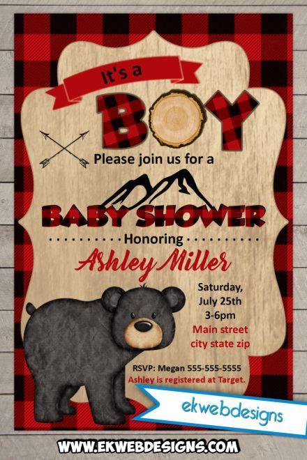Lumberjack Baby Shower Invitations – Custom Forest…