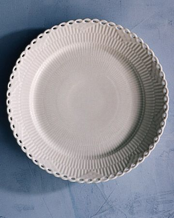 """Registry List for the Classic Bride: White Full Lace Dinner Plate. A reticulated rim with a pierced edge lends an heirloom quality to a """"White Full Lace"""" dinner plate, Royal Copenhagen."""
