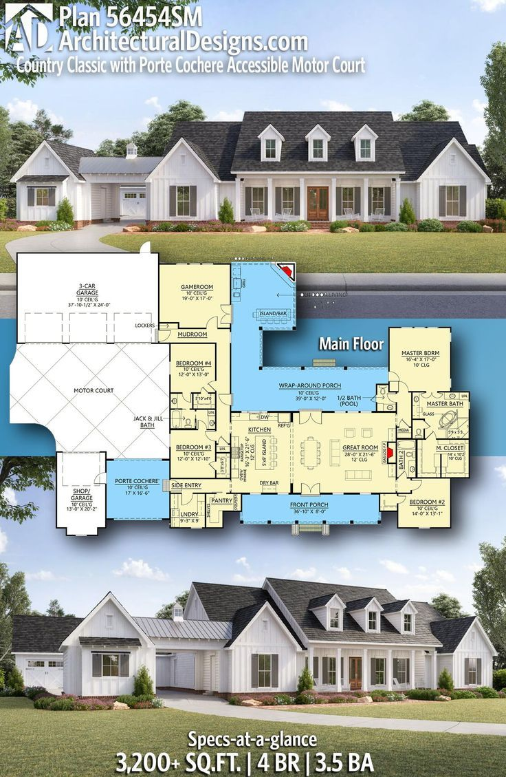 Plan 56454sm Country Classic With Porte Cochere Accessible Motor Court House Plans Farmhouse Country House Plans New House Plans