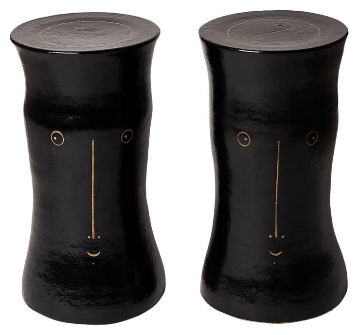 Pair of Black Glazed Ceramic Stools, Unique Piece by Dalo | From a unique collection of antique and modern stools at https://www.1stdibs.com/furniture/seating/stools/