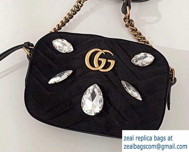 83cdf6128981 Gucci Crystals GG Marmont Chevron Velvet Mini Camera Bag 448065 Black 2017