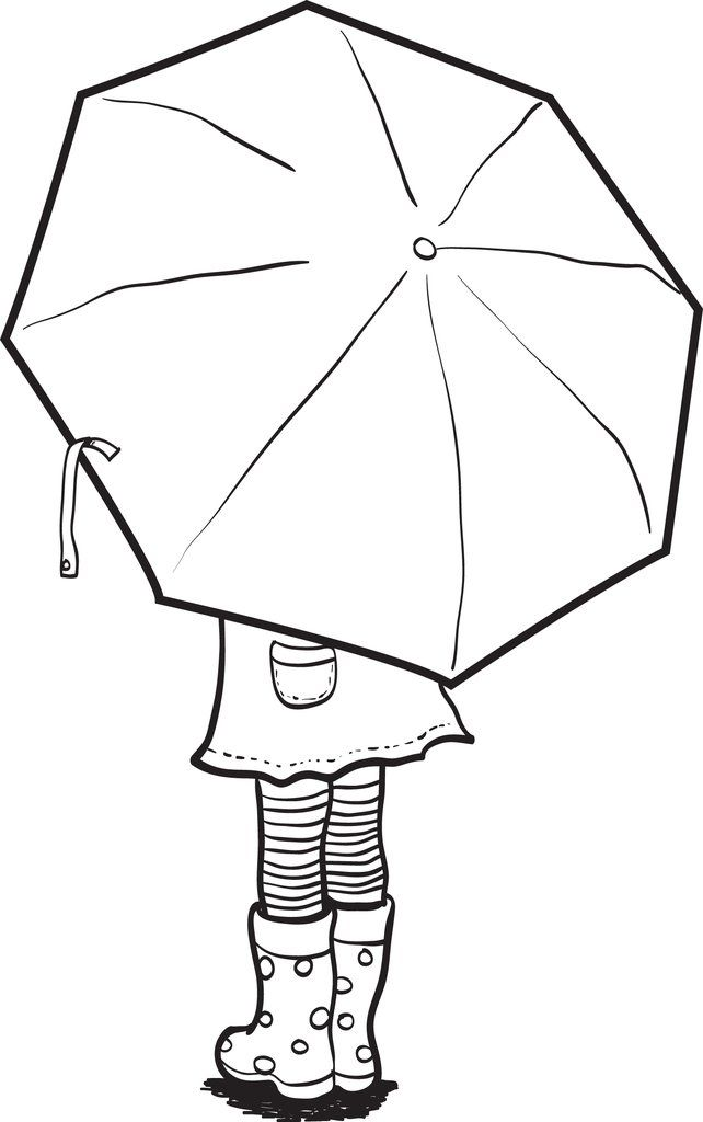 Girl Holding An Umbrella Spring Coloring Page Stained