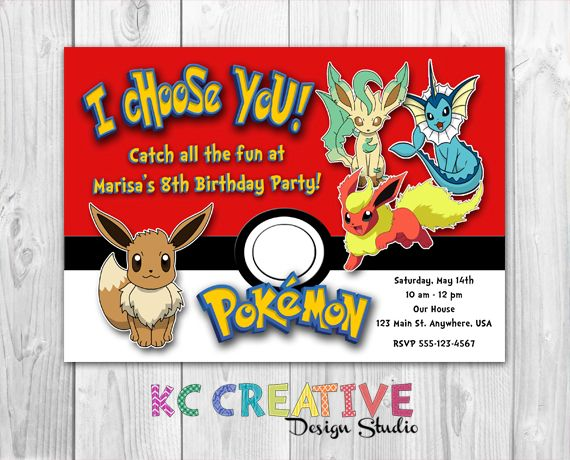 I Choose You! Evee Evolutions Pokemon Birthday Invitation