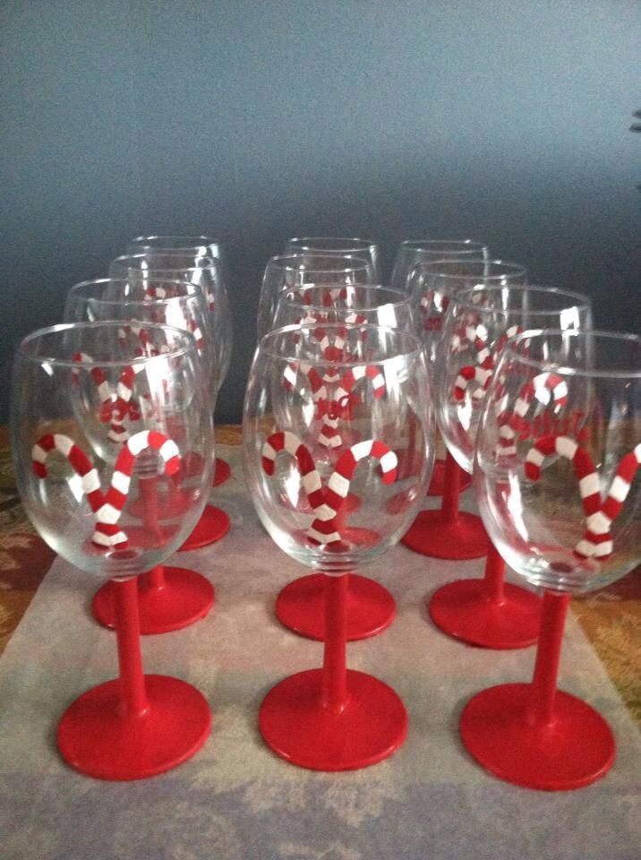 Candy cane wine glasses