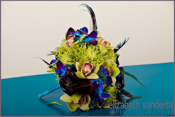 Lime Green And Blue Bouquet 4