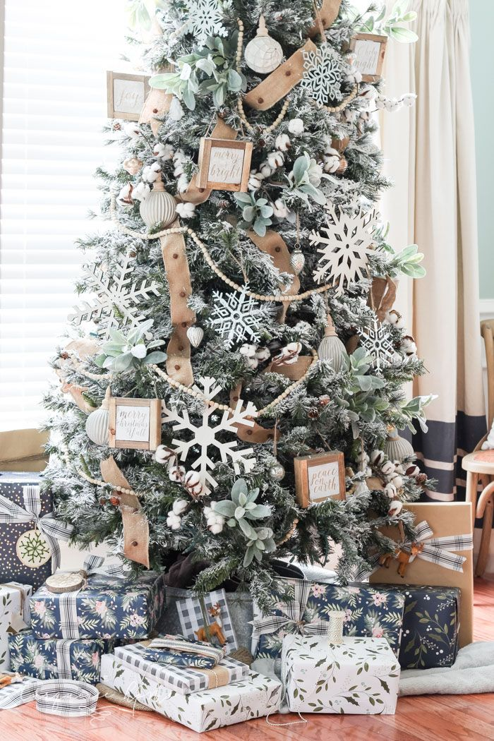 How To Decorate A Flocked Farmhouse Christmas Tree The Turquoise Home Christmas Tree Themes Christmas Tree Inspiration Flocked Christmas Trees