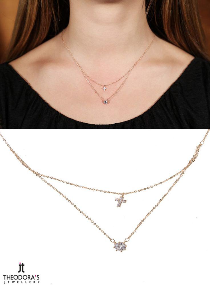 Rose gold plated stainless steel solitaire double necklace with white crystals ( cross and solitaire pendant) - Διπλό κολιέ από ροζ επιχρυσωμένο ατσάλι με μονόπετρο μενταγιόν από λευκό κρύσταλλο στο κάτω μέρος και μικρό ατσάλινο σταυρό με λευκά κρύσταλλα στο πάνω μέρος.