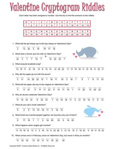Fun Valentine's Day Printable Games: #Valentine Cryptogram Riddles ...