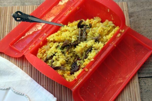 arroz con ternera en estuche de vapor de Lekue-1