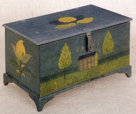 October 27, Pook & Pook sold 413 lots from the collection of Mr and Mrs Paul Flack. The highlight of the sale was a painted pine dresser box, dated 1845, by Jonas Weber, Lancaster County, Penn., that went to dealer Philip Bradley for $159,975, including premium.