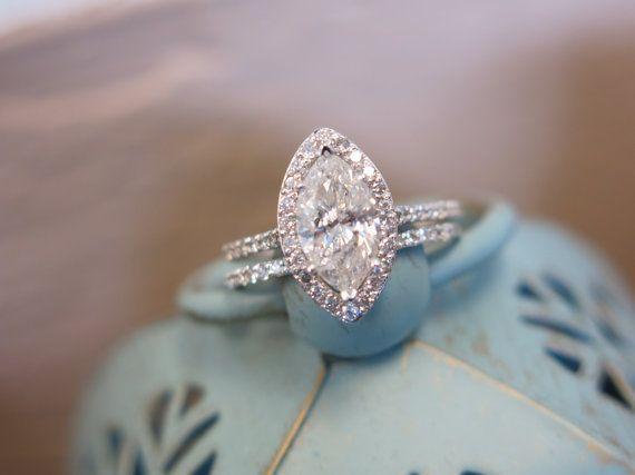 Vintage Inspired 14KT White Gold 1.43ct I1/I Marquise Diamond Dainty Classic Halo Engagement Ring with Matching Wedding Band Size 7 on Etsy, $3,599.00