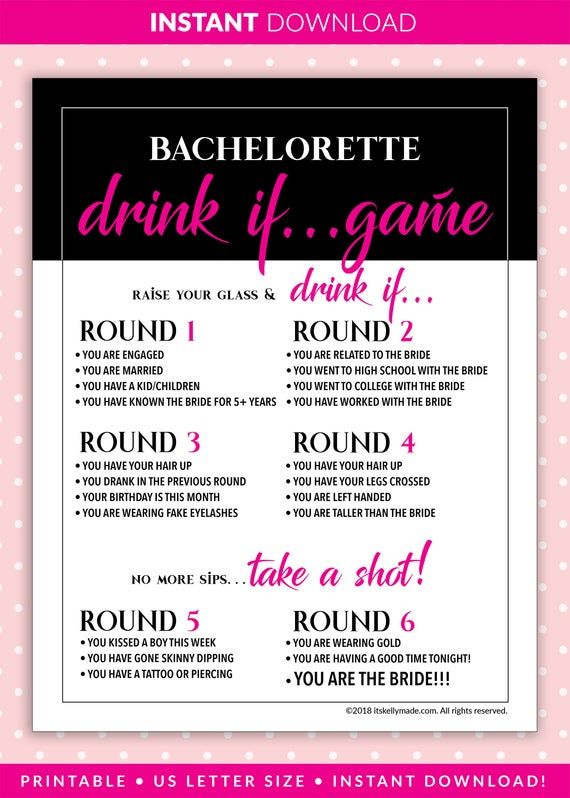 Bachelorette Party Games, DRINK IF Game, Printable Bachelorette Games, Hen Party, Pink, Black, Drinking, Instant Download!, bp-01