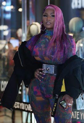 9124707fda7 Nicki Minaj Nicki Minaj Flaunts Her Assets In A Sheer Jumpsuit. Nicki Minaj  stunned in a sheer multicolored jumpsuit at the Diesel S..