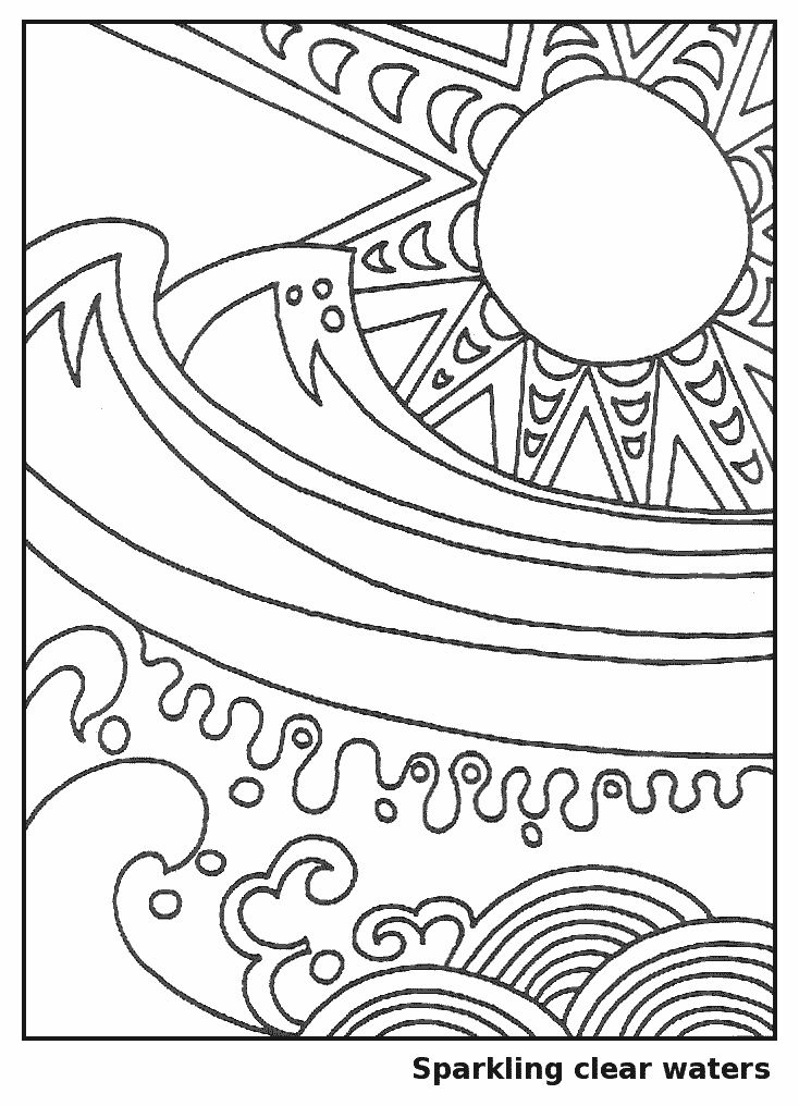 Waves in the Sun Coloring Page