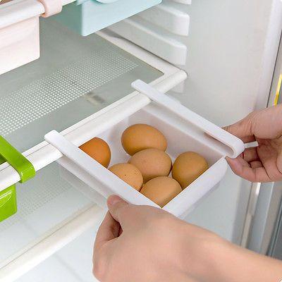 Slide Space Saver Fridge Freezer Organization Storage Rack Shelf Holder Kitchen