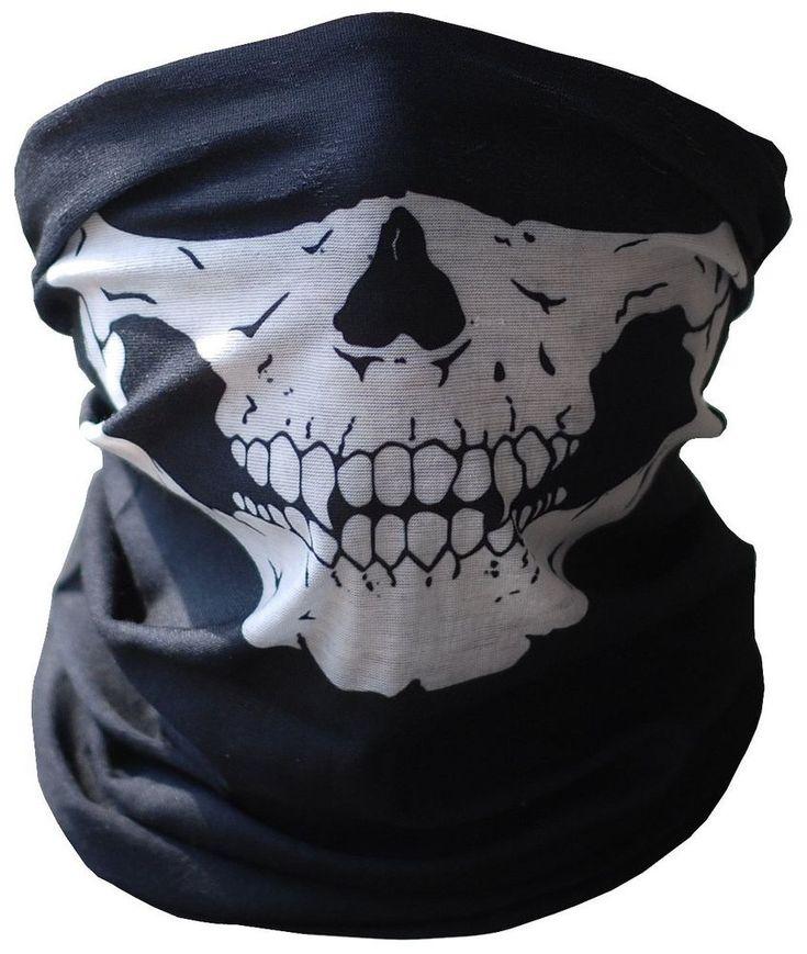 Skull Half Face Bandana Skeleton Ski Motorcycle Biker Paintball Mask Scarf #Bandana