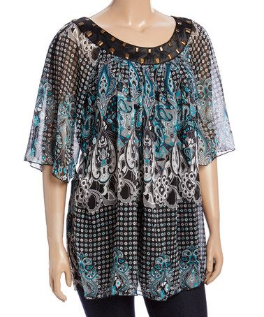 Look what I found on #zulily! Teal Sheer Paisley Cape-Sleeve Top - Plus #zulilyfinds
