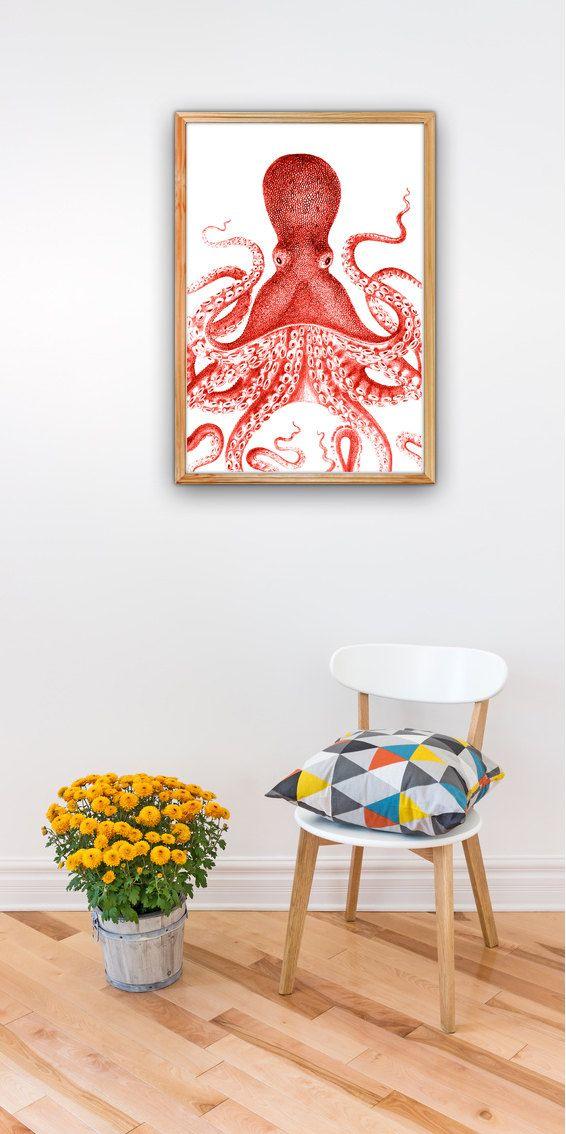 Octopus Print in Red octopus illustration door seasideprints