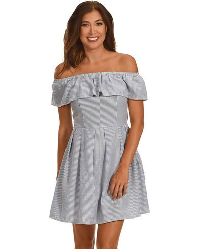 Ces Femme Women's Off The Shoulder Stripe Dress - Country Outfitter