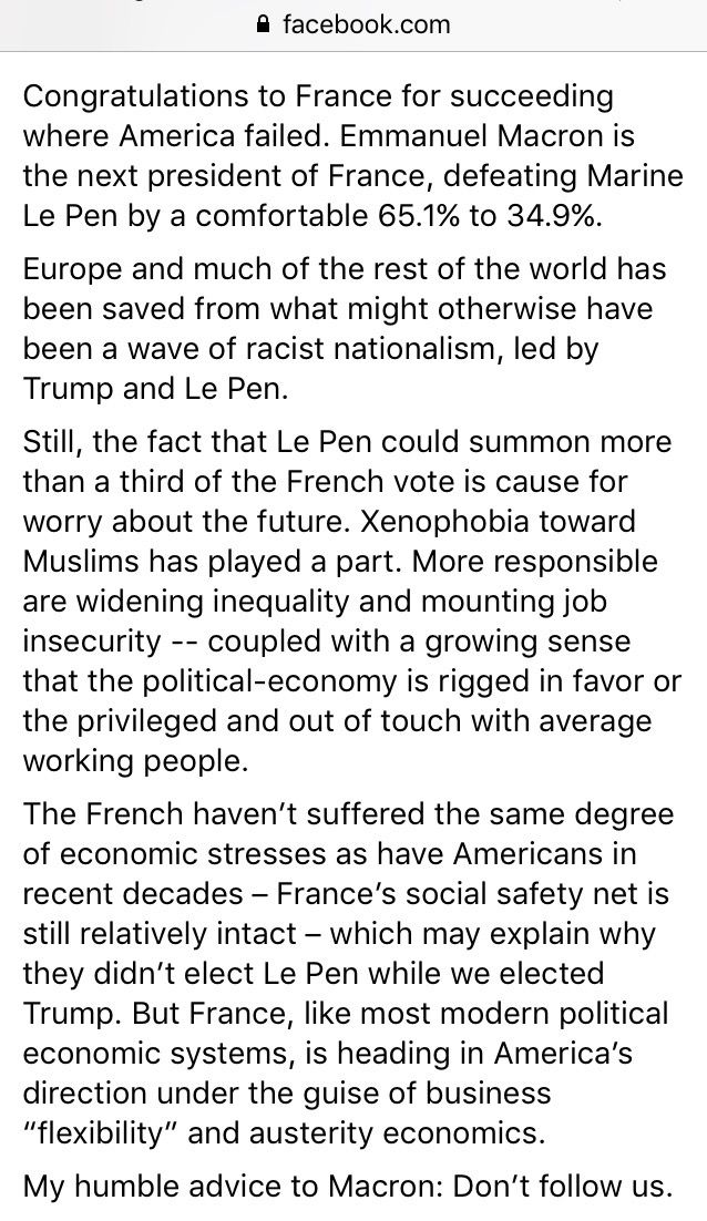 Robert Reich on the joyful news that France didn't make the same mistake the U.S. made in their presidential election today.